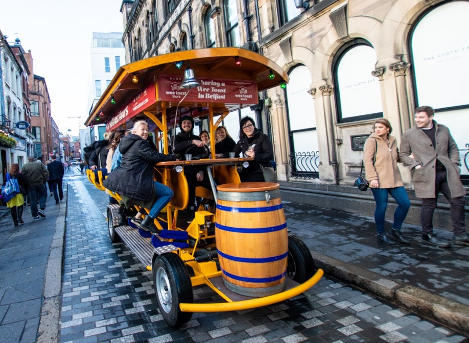 Group pedal tour of Belfast's Cathedral Quarter
