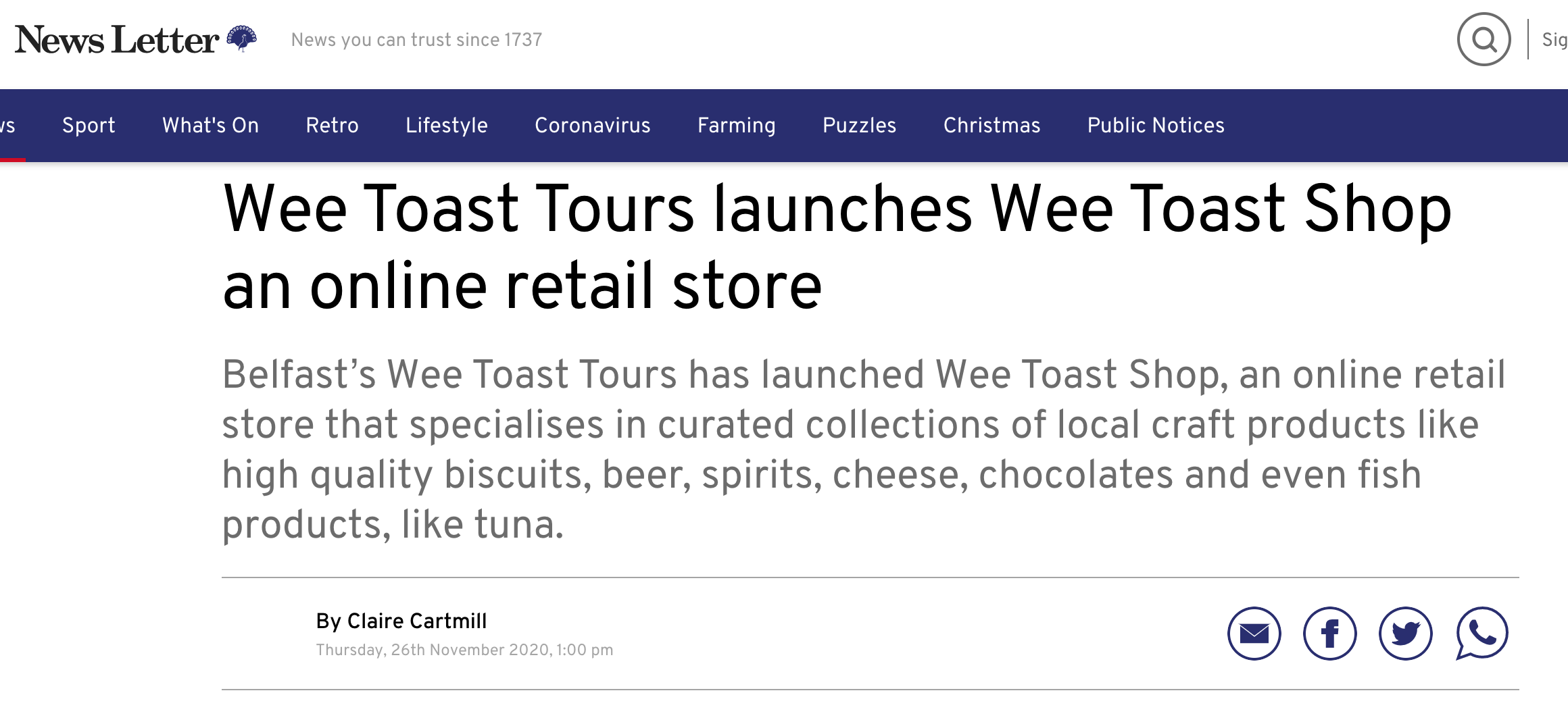 In the Press, Wee Toast is featured in the Newsletter